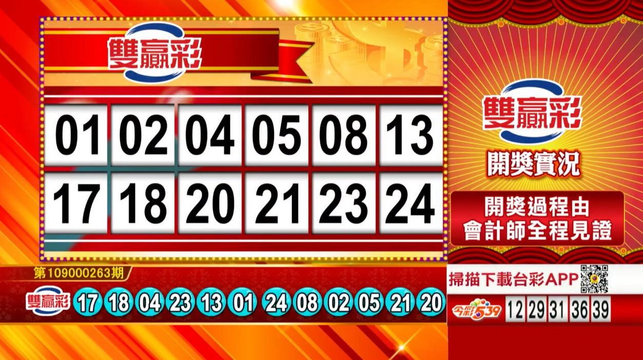 雙贏彩中獎號碼》第109000263期 民國109年11月2日 《#雙贏彩 #樂透彩開獎號碼》