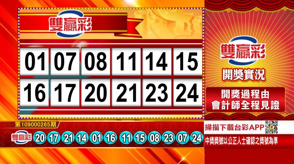 雙贏彩中獎號碼》第109000265期 民國109年11月4日 《#雙贏彩 #樂透彩開獎號碼》