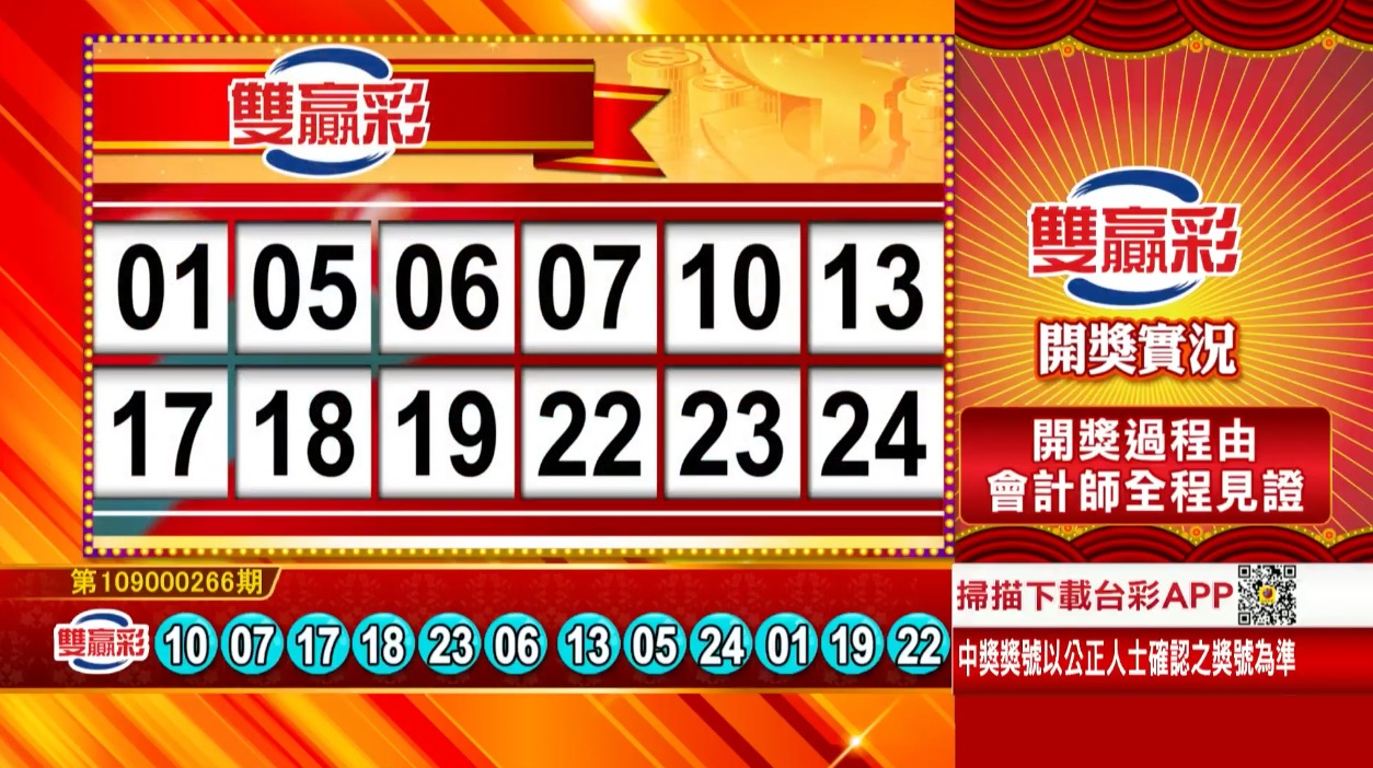 雙贏彩中獎號碼》第109000266期 民國109年11月5日 《#雙贏彩 #樂透彩開獎號碼》