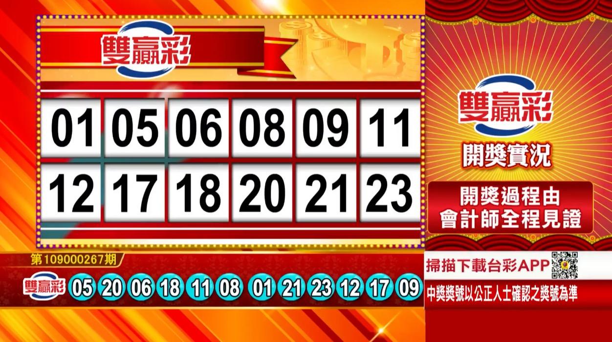 雙贏彩中獎號碼》第109000267期 民國109年11月6日 《#雙贏彩 #樂透彩開獎號碼》