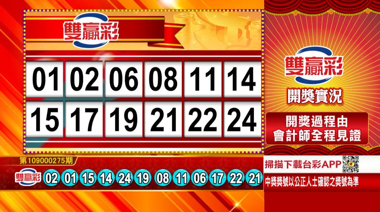 💰雙贏彩中獎號碼💰第109000275期 民國109年11月16日 《#雙贏彩 #樂透彩開獎號碼》
