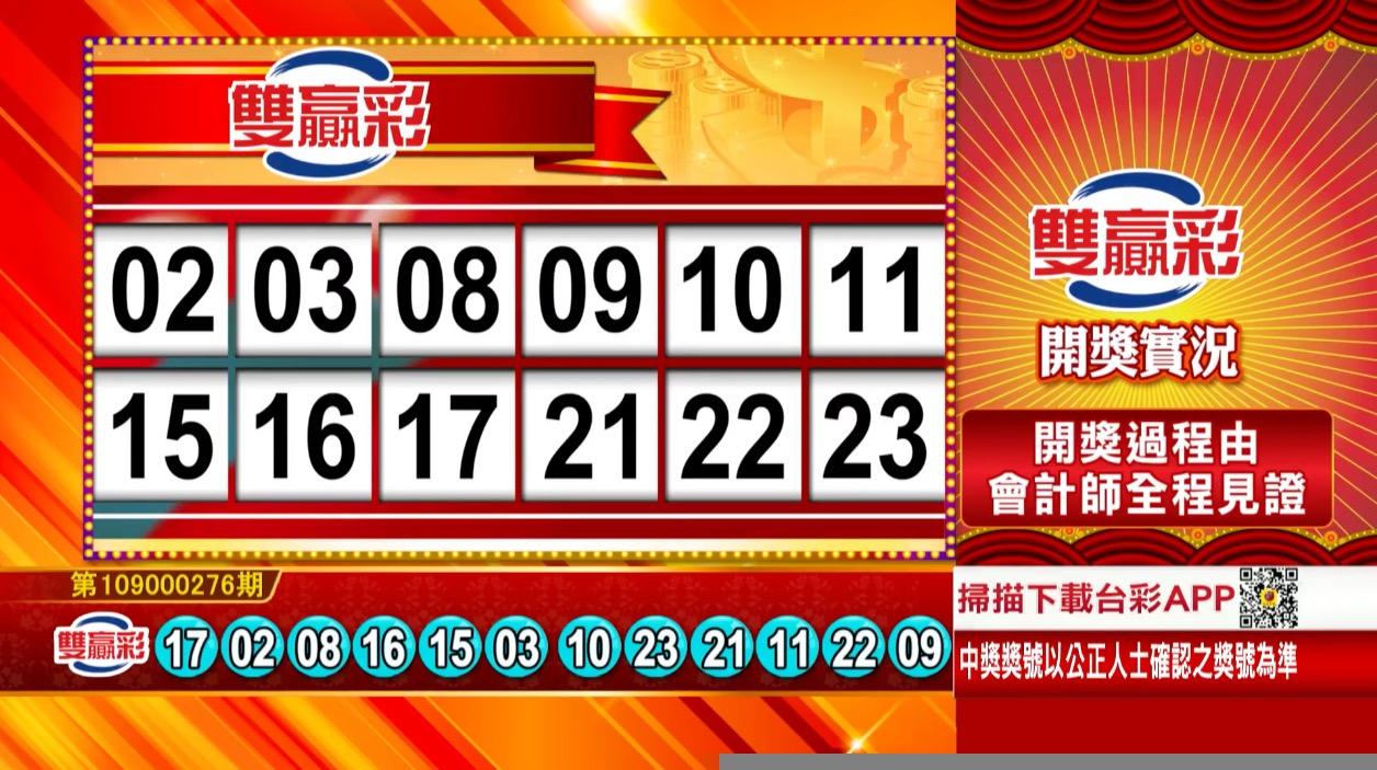 💰雙贏彩中獎號碼💰第109000276期 民國109年11月17日 《#雙贏彩 #樂透彩開獎號碼》