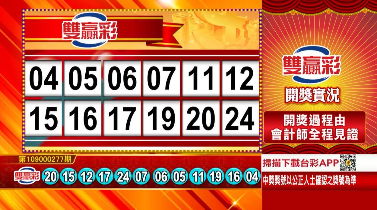 💰雙贏彩中獎號碼💰第109000277期 民國109年11月18日 《#雙贏彩 #樂透彩開獎號碼》