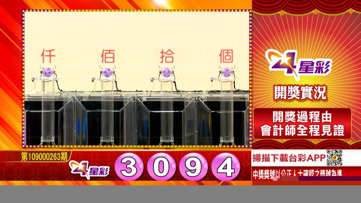 4星彩中獎號碼》第109000263期 民國109年11月2日 《#4星彩 #樂透彩開獎號碼》