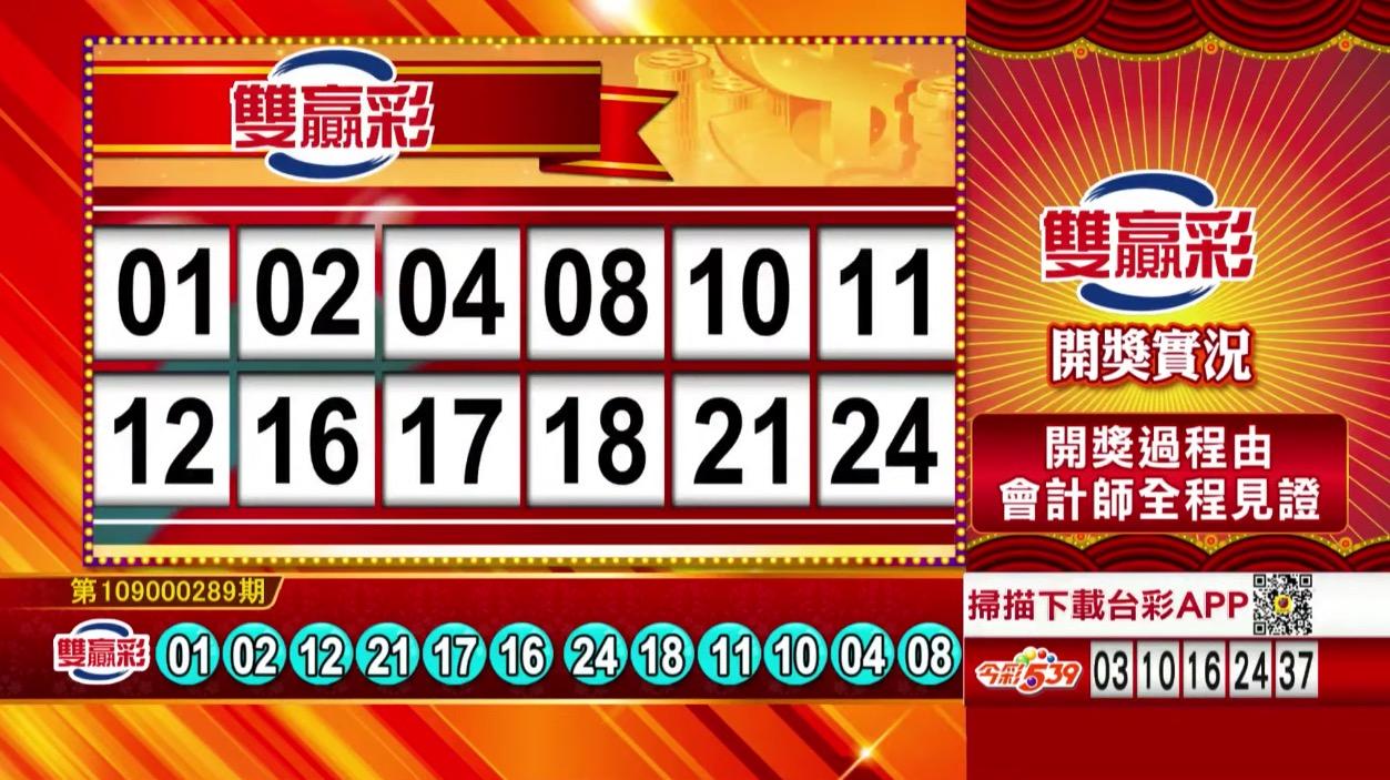 💰雙贏彩中獎號碼💰第109000289期 民國109年12月2日 《#雙贏彩 #樂透彩開獎號碼》