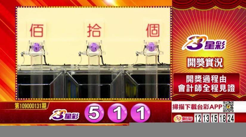 3星彩中獎號碼》第109000131期 民國109年6月1日 《#3星彩 #樂透彩開獎號碼》