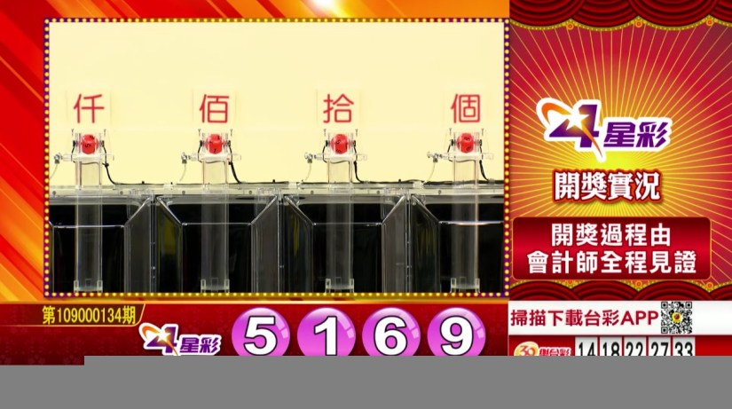 4星彩開獎號碼》第109000134期 民國109年6月4日 《#4星彩 #樂透彩中獎號碼》