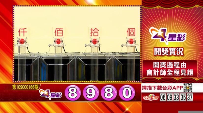 4星彩中獎號碼》第109000166期 民國109年7月11日 《#4星彩 #樂透彩開獎號碼》