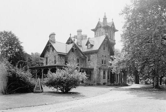 Lockwood mansion surrounded by trees.