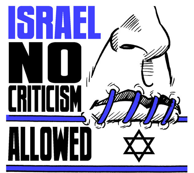 English: Israel criticism not allowed