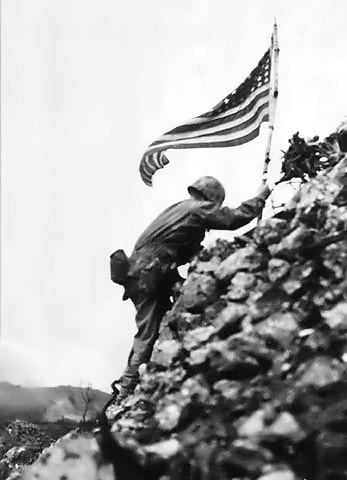 File:US Flag raised over Shuri castle on Okinawa.jpg
