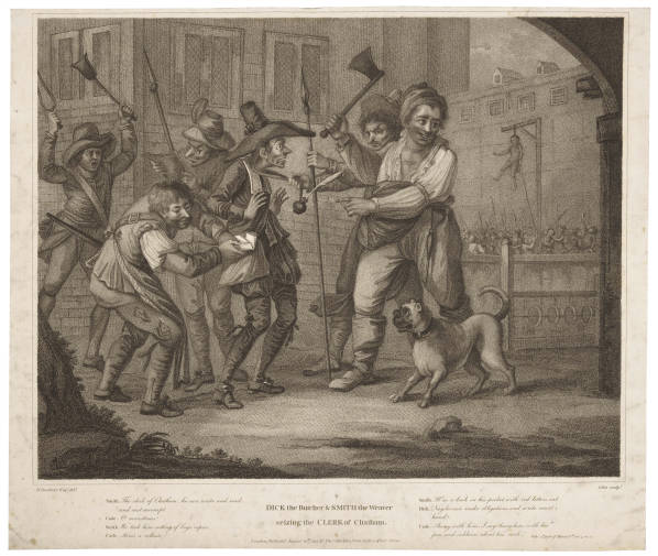 Smith the Weaver and Dick the Butcher seize the Clerk of Chatham, Bunbury print of Henry VI, Part II scene