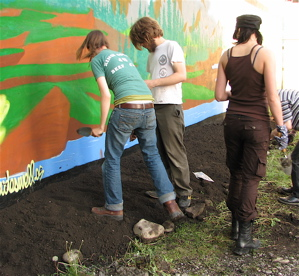 English: Guerrilla gardeners planting vegetabl...