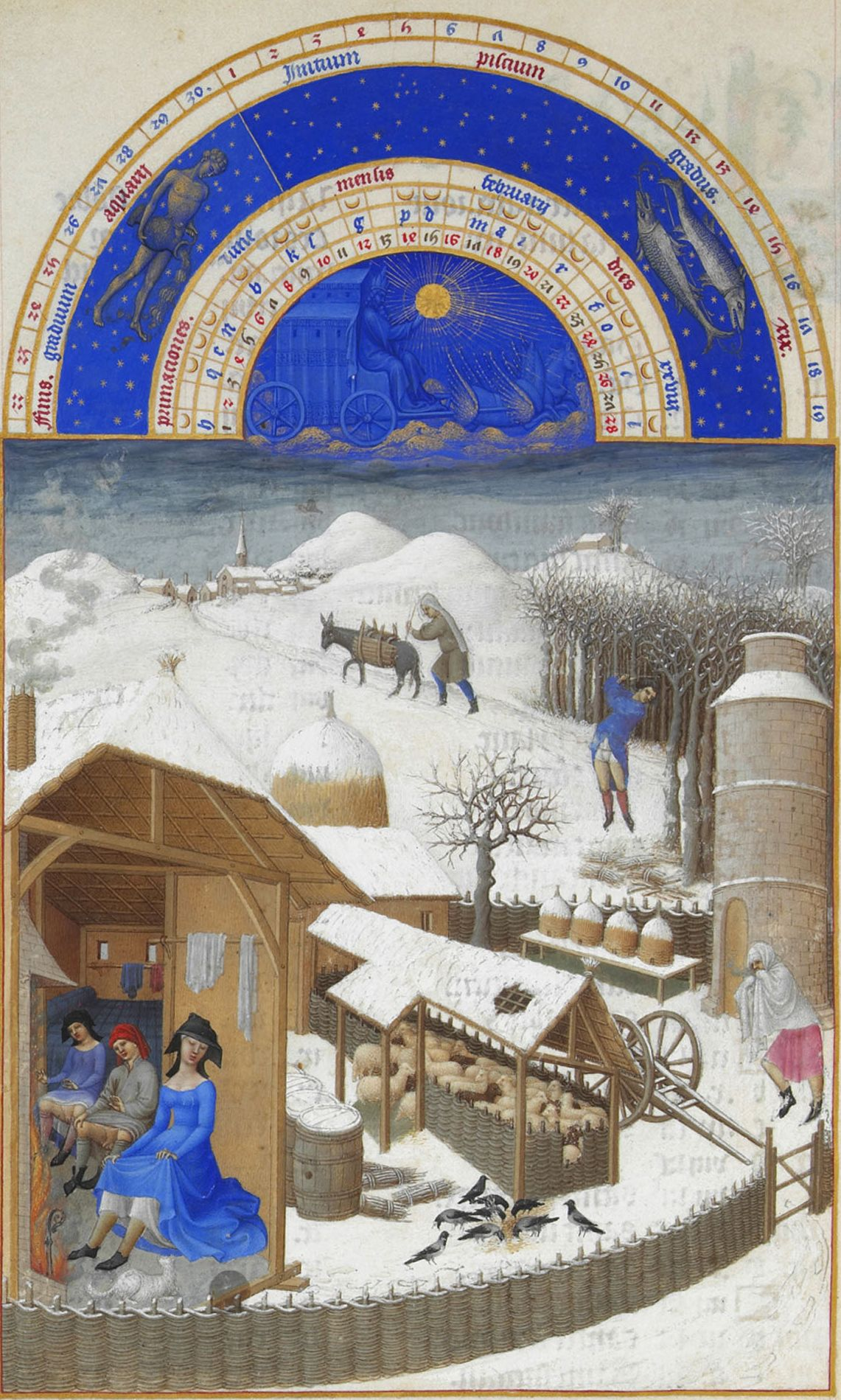 "Limbourg Brothers, ""The Book of Hours."" Chopping wood, the interior of the farmhouse."