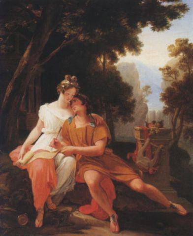 "Auguste Jean Baptiste Vinchon, ""Propertius and Cynthia at Tivoli""."