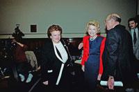 Congresswoman Mary Rose Oakar (D-OH) greets Be...