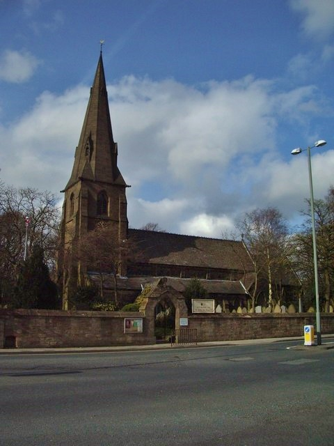 Parish church of All Saints with St John the Baptist Church, Padiham Road, Habergham, Lancashire, seen from the south
