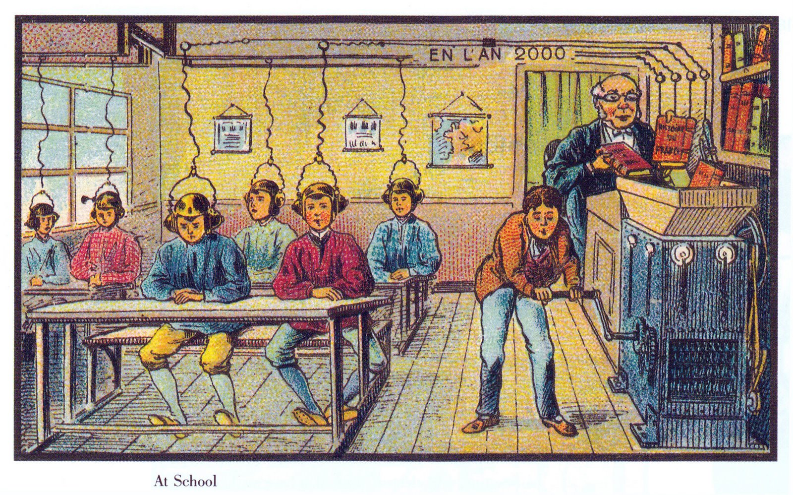 Future school. France, paper card. (In the year 2000...)