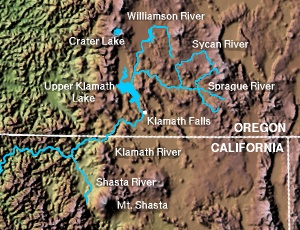 Upper Klamath Lake map.