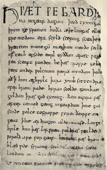 Beowulf-manuskriptets förstasida