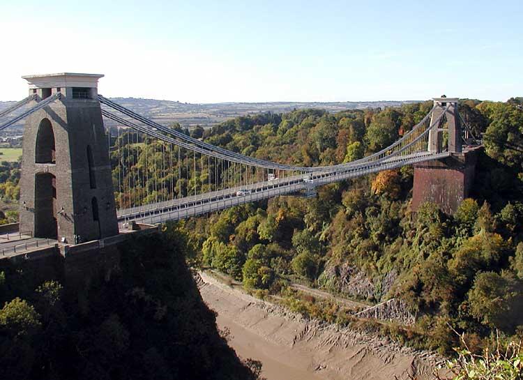 The Clifton Suspension Bridge, Bristol, England. The bridge is 240 feet above the River Avon (at high tide).