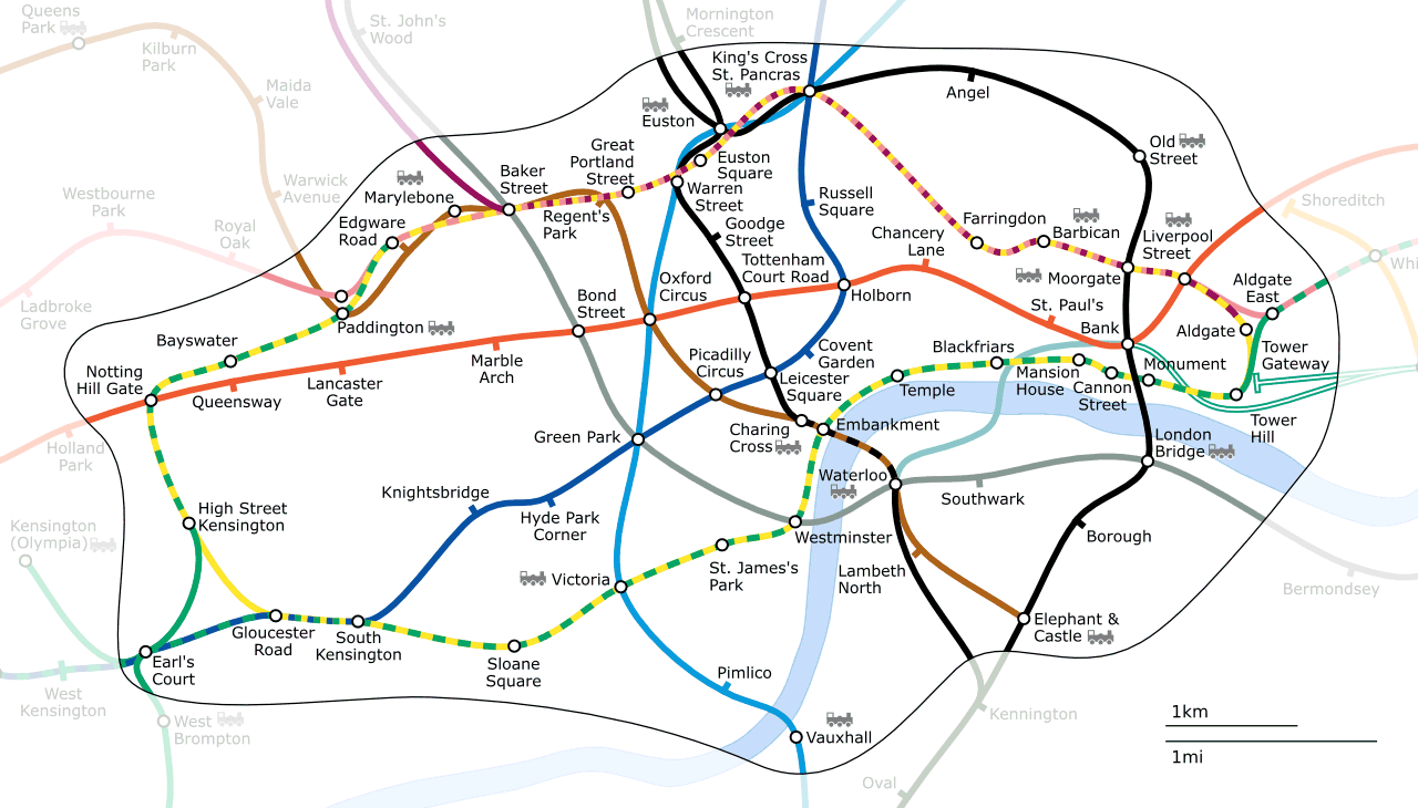 A non-standard map of Londons Underground Zone 1 (city centre) - courtesy of Wikipedia