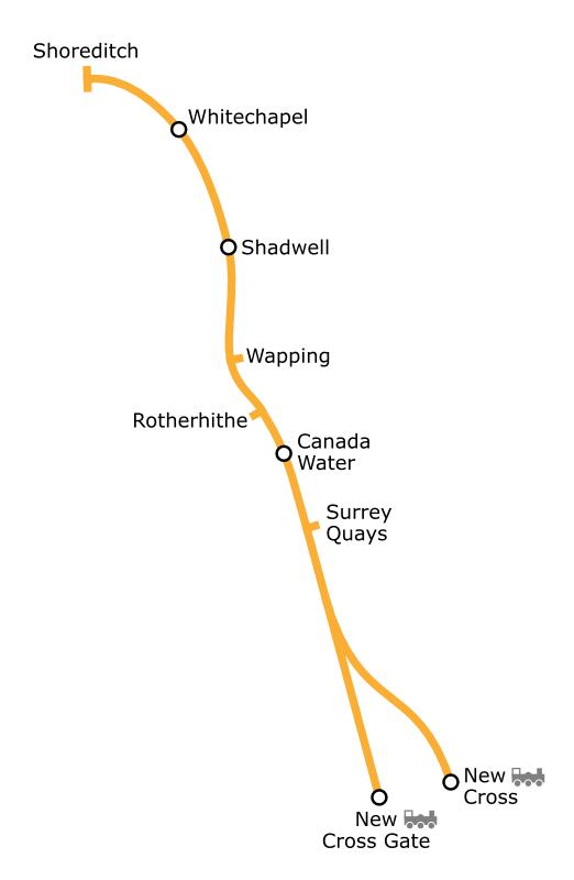 Mapa de Loidhne Lunnainn an Ear nuair a bha e mar phàirt den Underground