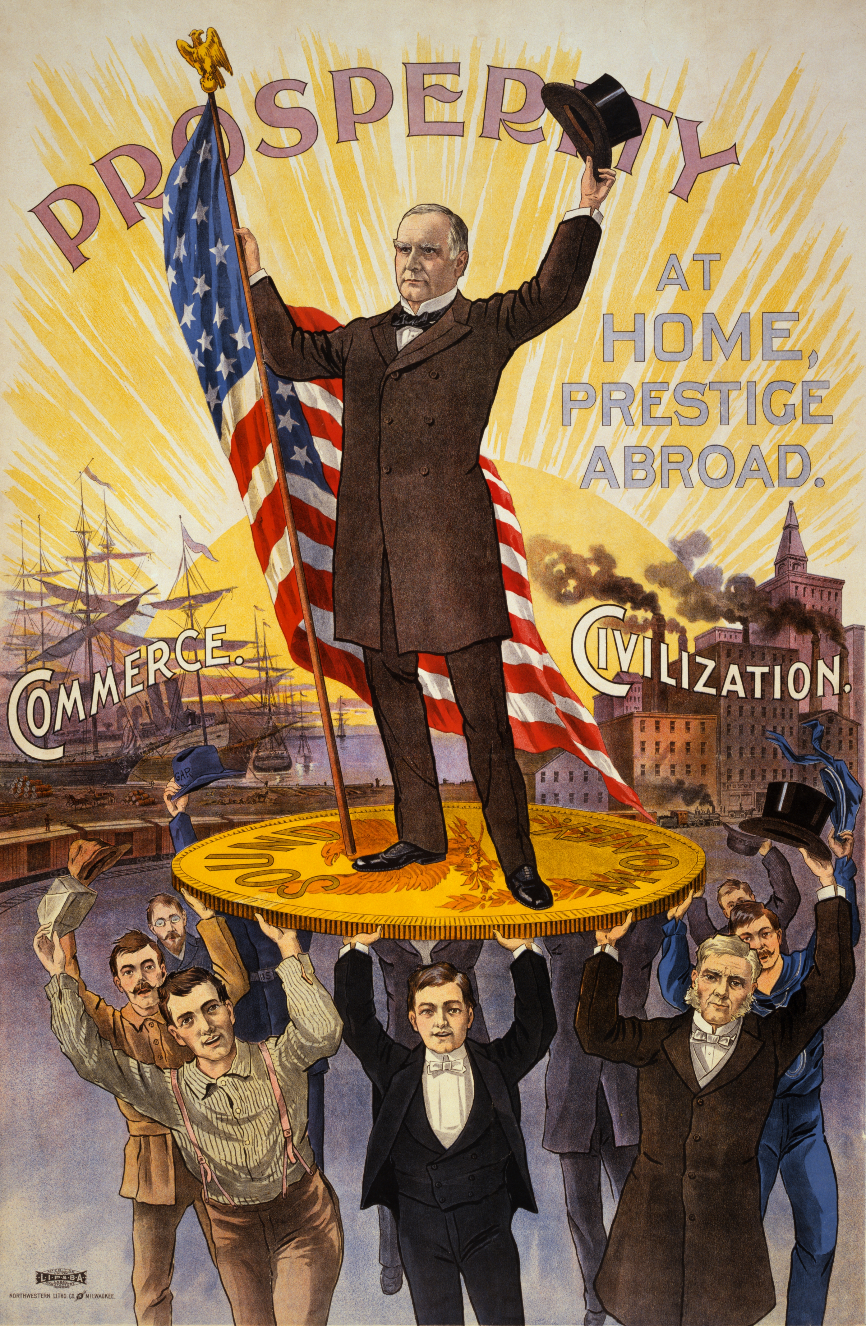 Campaign poster showing William McKinley holdi...