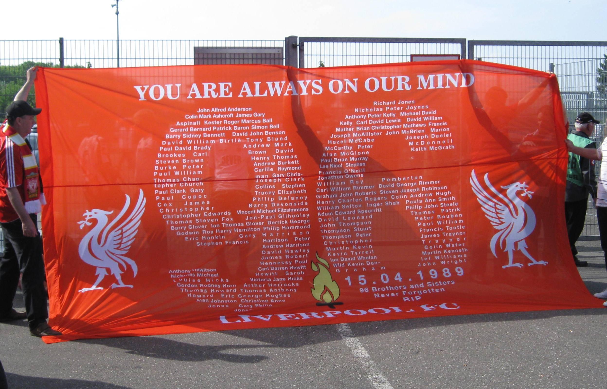 English: Banner 20th anniversary of Hillsborou...