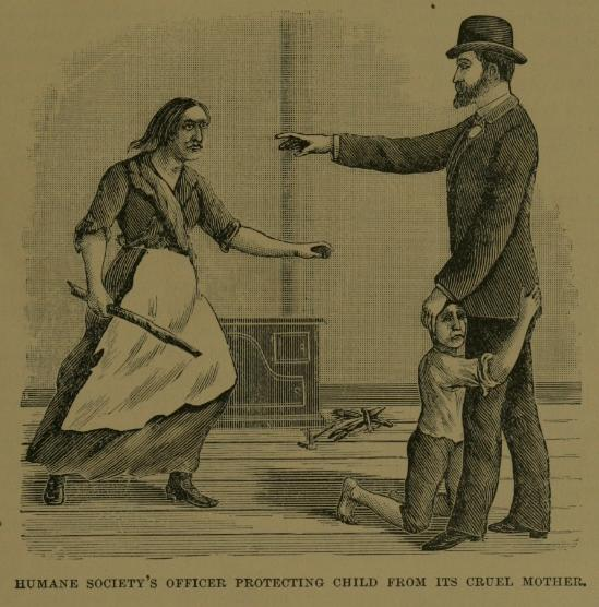 Aged pen-and-ink poster of a woman with a thick branch coming after her child, but the boy is on his knees clinging to a besuited man, his hand out to stop her.