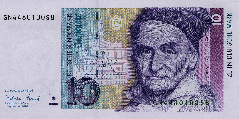 Gauss en un bitllet de 10 marcs alemanys, imatge de Wikimedia Commons