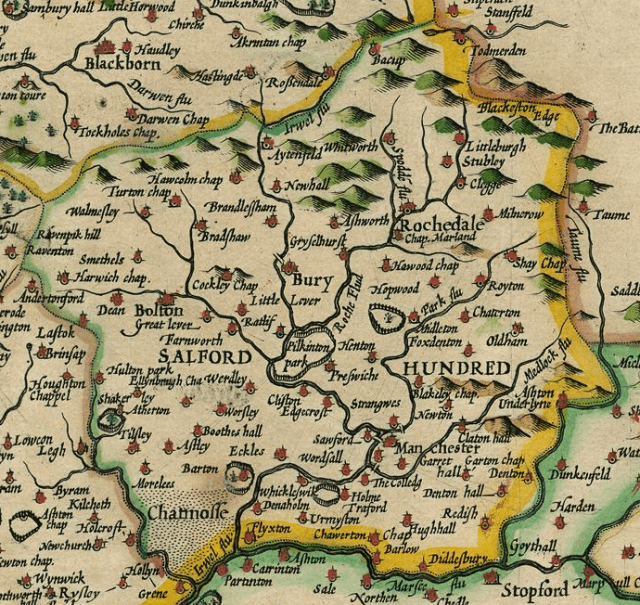 The Hundred of Salford: John Speed's map of Lancashire is one of the earliest and shows towns and villages but no highways.