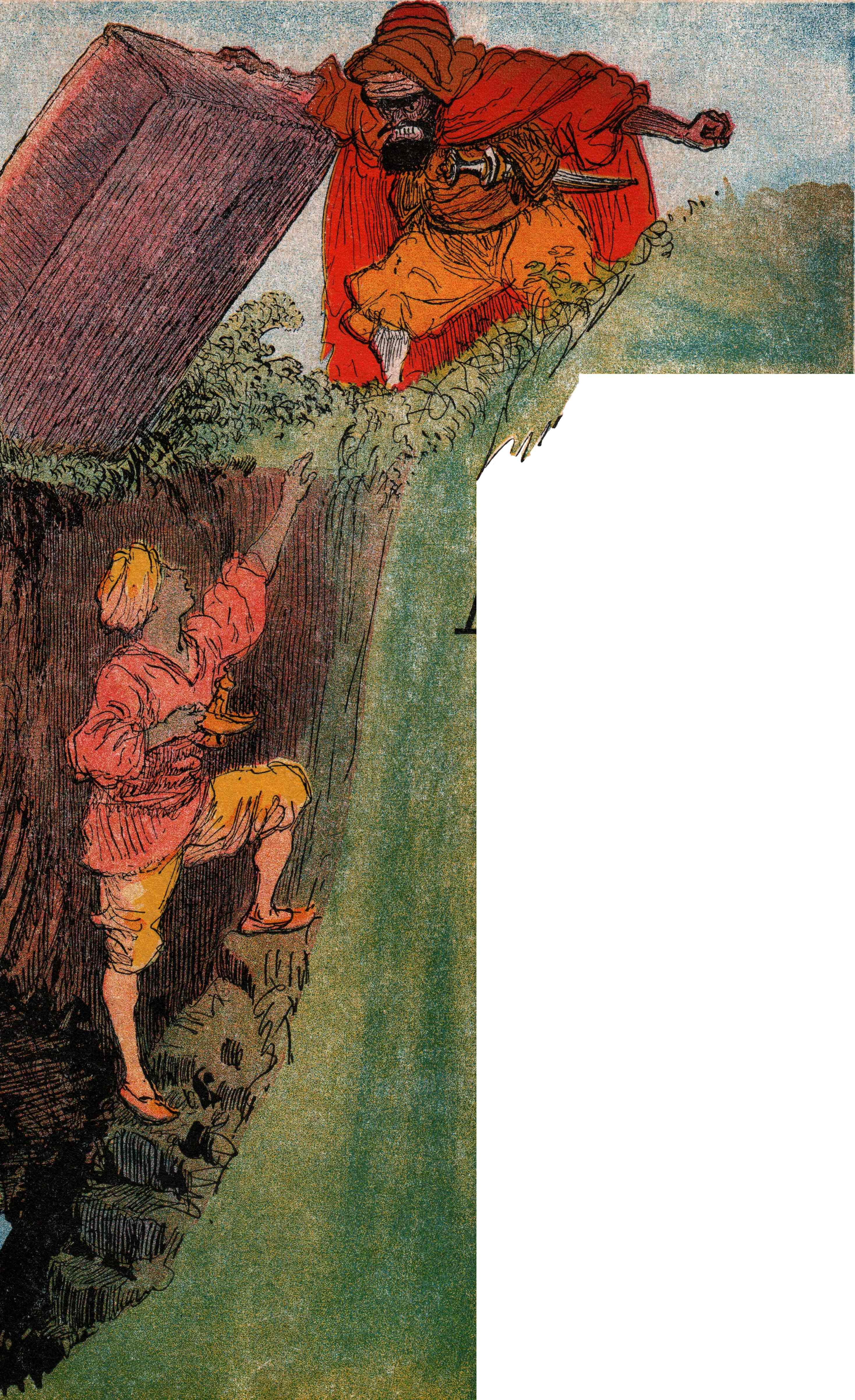 Français : Aladin - illustré par Albert Robida...