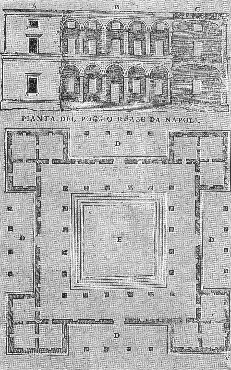 La villa di Poggioreale in un'incisione di Sebastiano Serlio