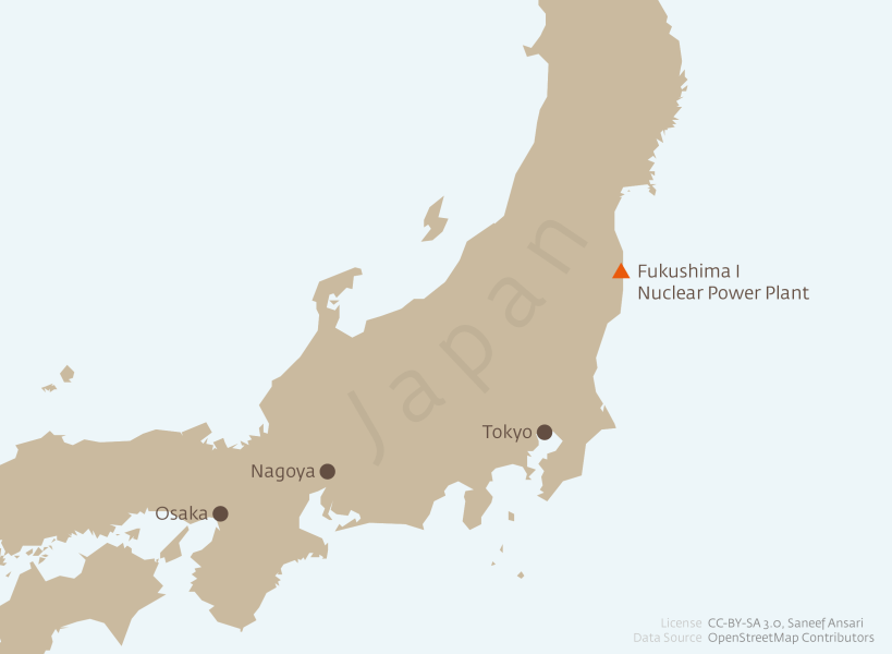 The 2011 Nuclear Crisis in Japan Map of Fukushima I Power Plant