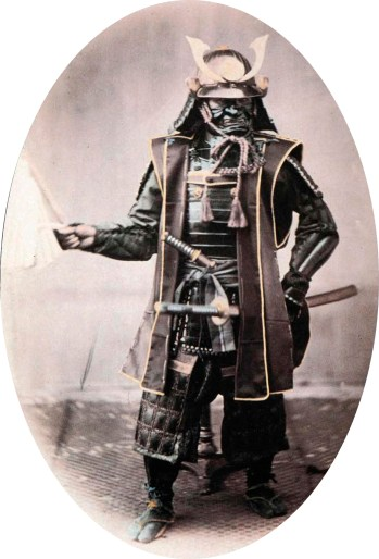 Samurai in armor, 1860s. Hand-coloured photograph by Felice Beato.