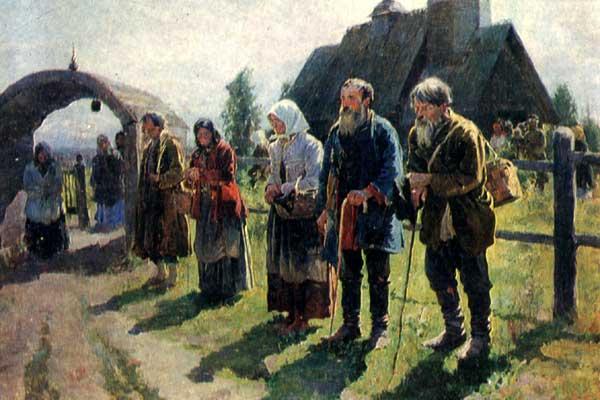 """Painting """"Beggars"""" of Russian artist S.A.Vinogradov."""