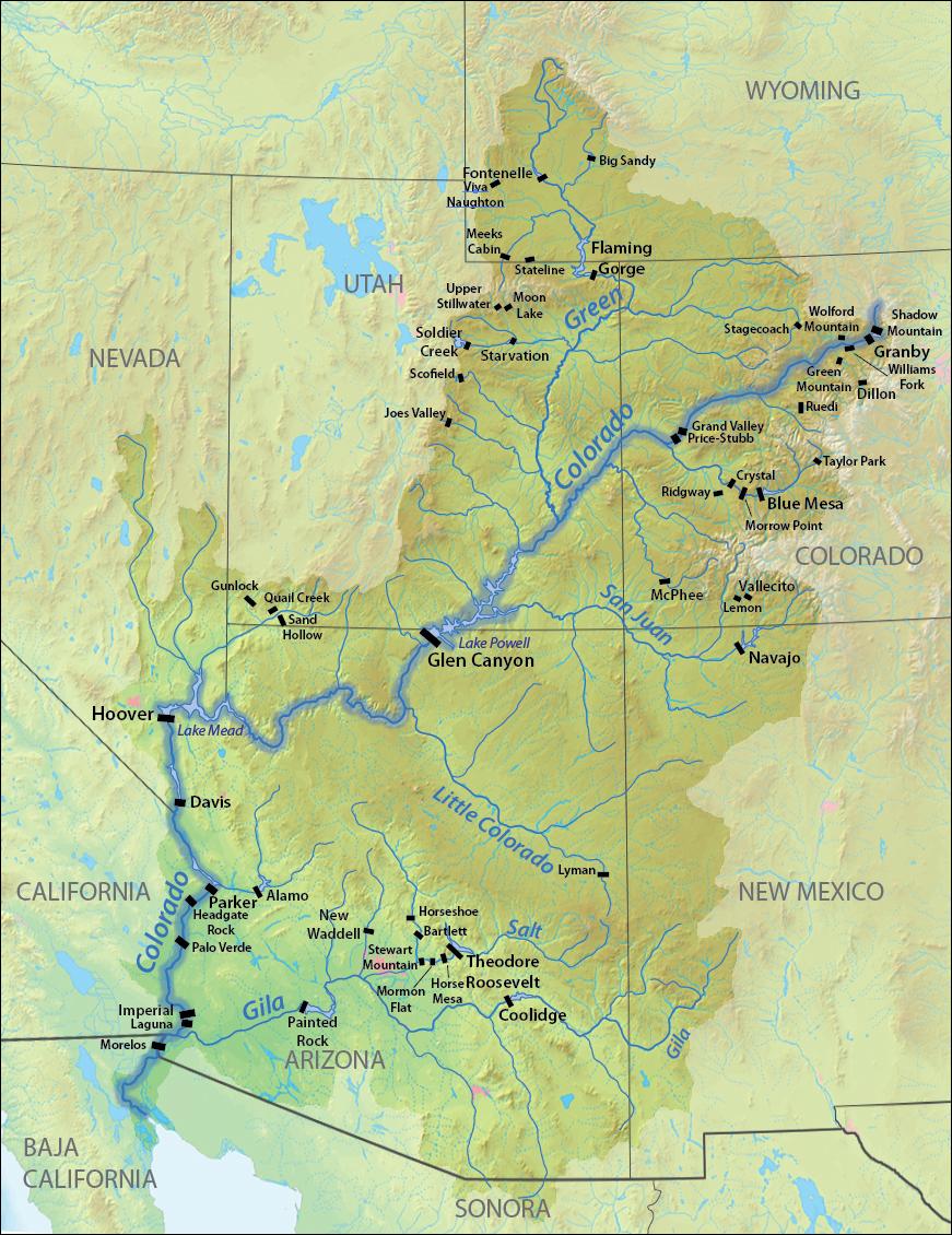 Mapa del río Colorado y sus represas