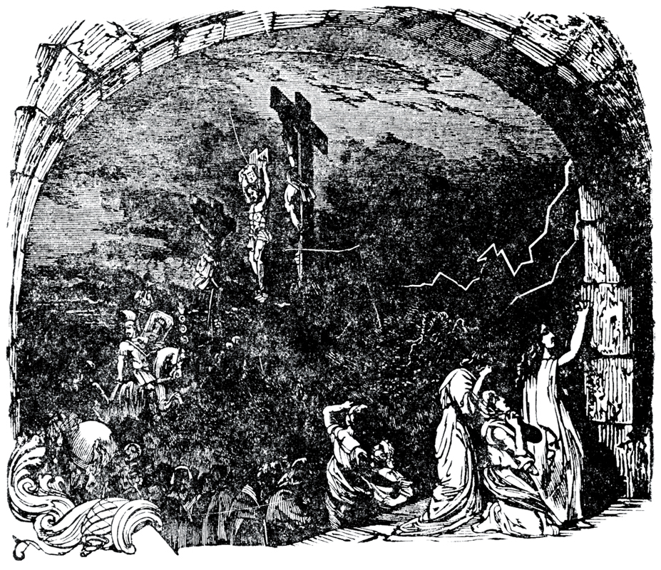 English: A woodcut of Jesus on the cross made ...