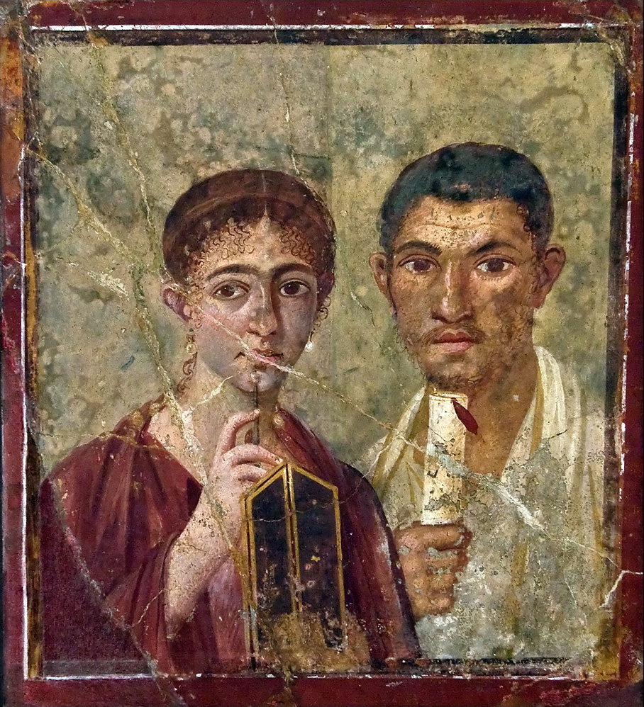 Pompeii, House VII, 2, 6: This may be the portrait of a couple who ran a Bakery. He had gained his citizenship through military service, and they are thought to have been Christians by some investigators. Exhibited in the National Archaeological Museum of Naples in Naples.