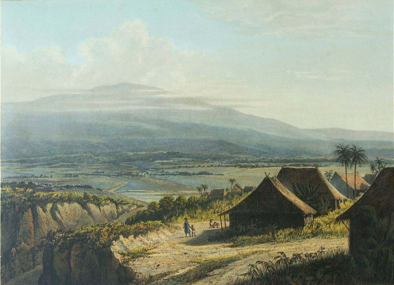 Litografi berdasarkan lukisan oleh Abraham Salm dengan pemandangan di Banten (1865-1872)