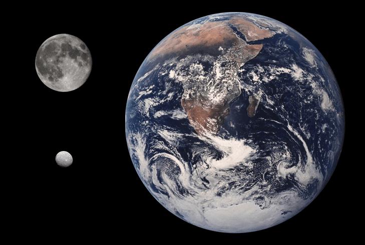 Perbandingan Bumi, Bulan dan asteroid Ceres