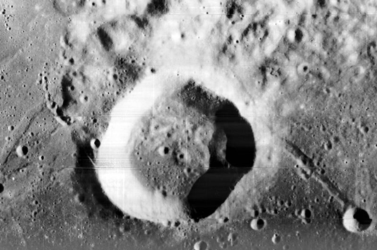 Lunar crater on the moon. (Wiki).