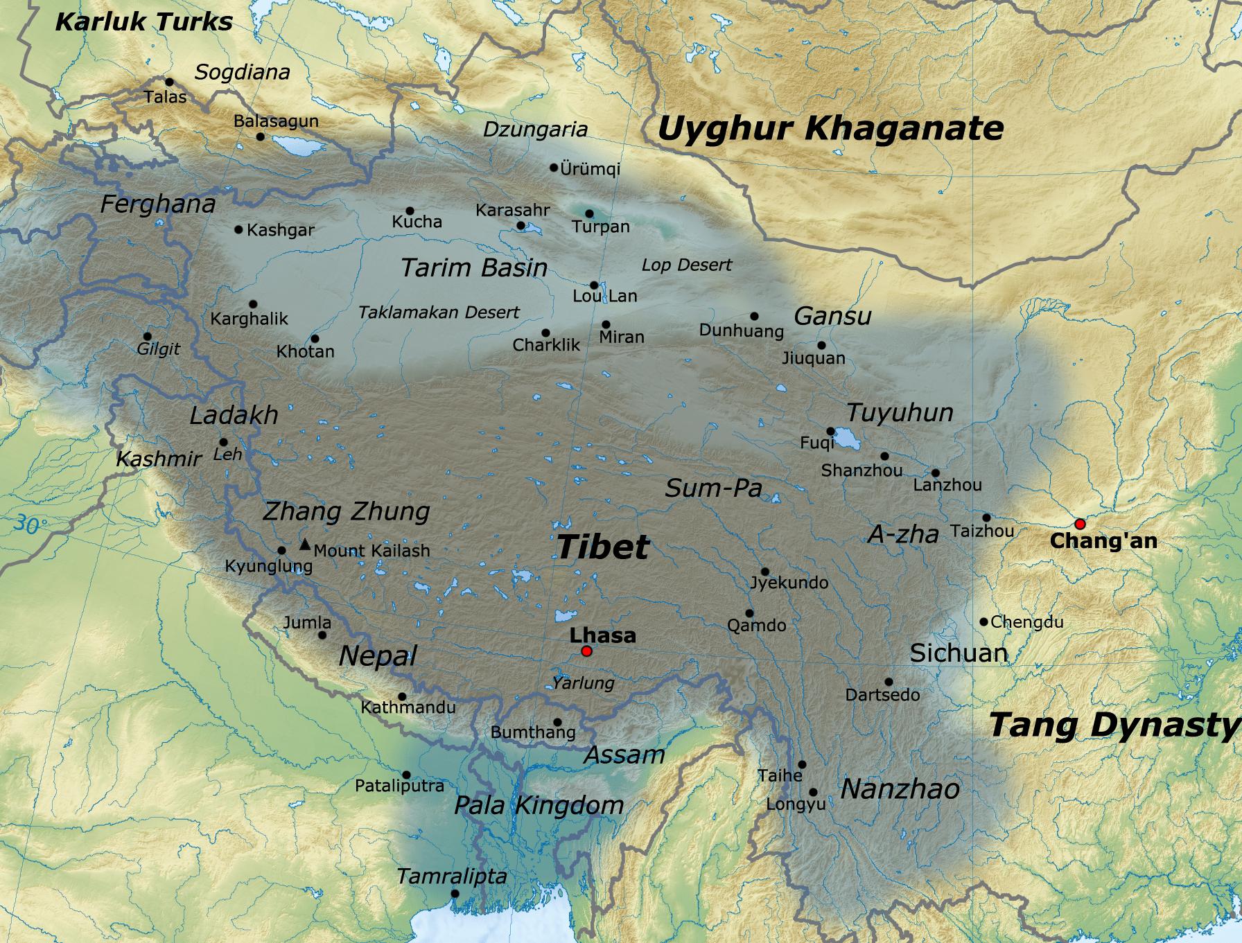 Localisation du Zhangzhung - Wikicommons