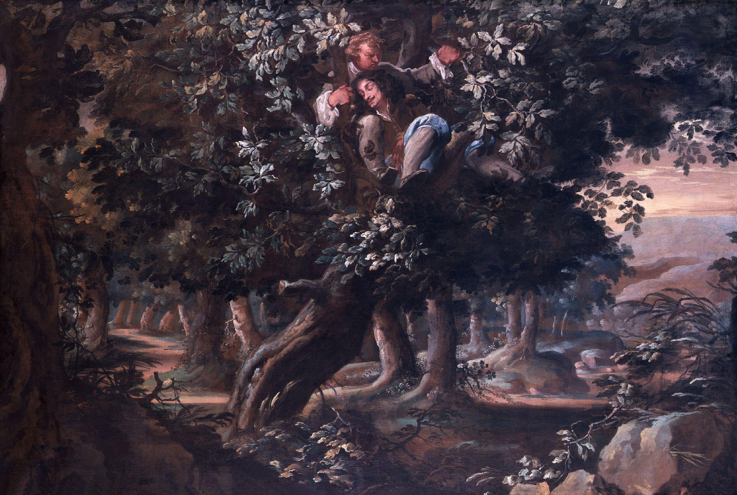 King Charles II and Colonel William Carlos in the Royal Oak, by Isaac Fuller (died 1672) [National Portrait Gallery]