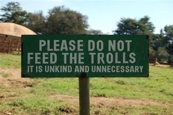 """Do not feed the Trolls"" sign. Sean Sandulak Verbatim Gibberish"
