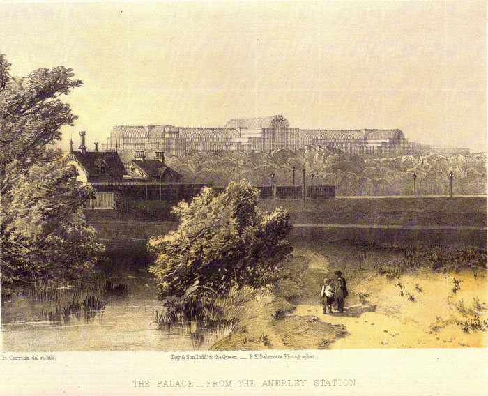 Anerley Gardens with The Crystal Palace in the back ground approx 1860