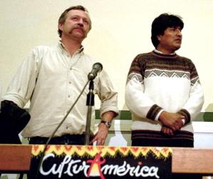 Evo Morales et José Bové in Pau on 2002 during...