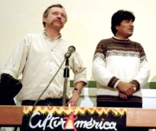 Evo Morales (right) with French labor union leader José Bové in 2002