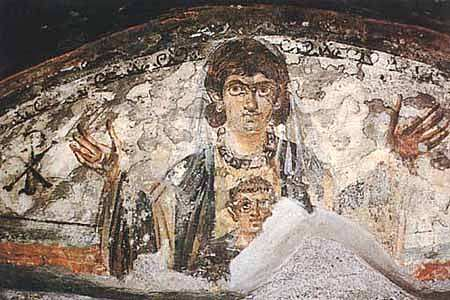 Virgin and Child. Wall painting from the early catacombs, Rome, 4th century.